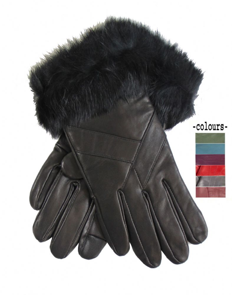 Women genuine leather winter gloves H275-WG6598